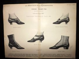 Le Moniteur de la Cordonnerie 1889 Rare Antique Shoe Design Print 25